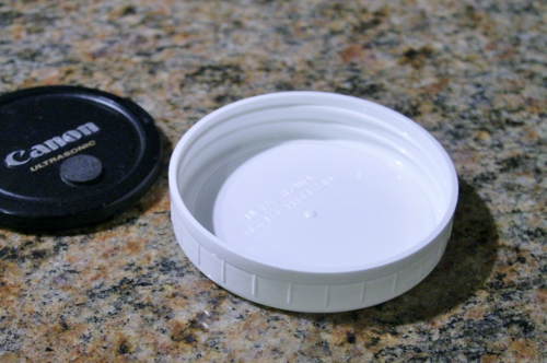 "Realized part way through the day I can use a plastic mason jar lid as the ""white"" to set the custom white balance on my camera.  Nice!!"